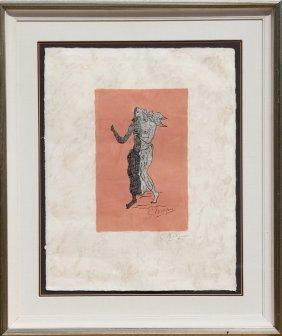 Georges Braque, Personnage Sur Fond Rose, Lithogra