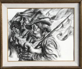 Dan, Bagpipers, Charcoal Drawing