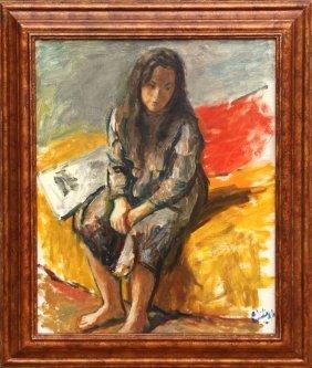 Robert Philipp, Seated Girl, Oil Painting