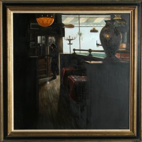 Harry McCormick, At The Door, Oil Painting