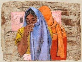 Anton Refregier, Two Women With Shawls, Gouache Pai