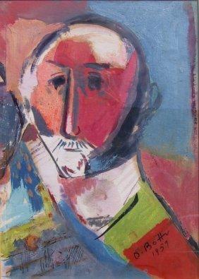 Otto Botto, Portrait Of A Man, Watercolor