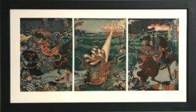 Utagawa Kunihisa, Hunting The Tailed Fox Triptych, W