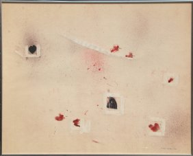 Roger Selden, Untitled 2 (hearts) Ink And Acrylic