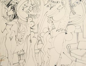 Knox Martin, Nudes In Living Room, Pen And Ink Drawing