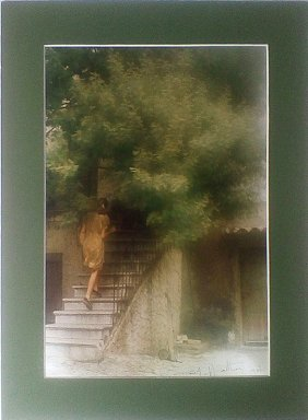 David Hamilton, Woman Going Up Stairs, Color Photograph