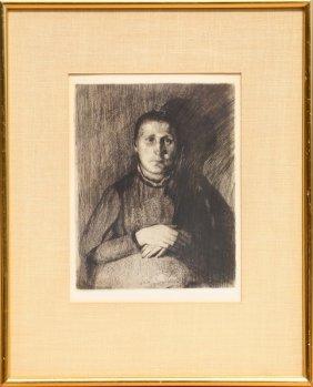 Kathe Kollwitz, Frau Mit Uebereinandergelegten Haenden,
