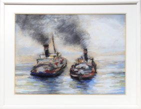 Two Steam Boats, Pastel Drawing