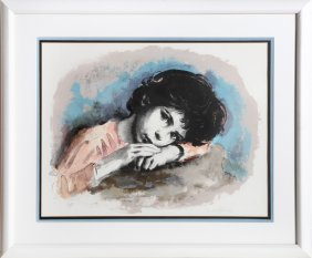 Sandu Liberman, Resting Child (color) Lithograph