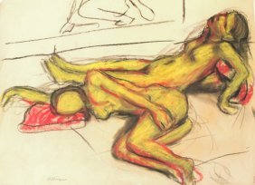 Bob Thompson, Two Nudes Ii, Pastel Drawing