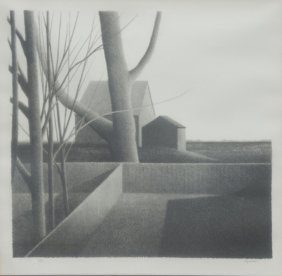 Robert Kipniss, T Fence Two Buildings, Lithograph