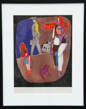 Richard Lindner, First Ave (pizza), Lithograph