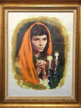 Sandu Liberman, Shabbas Candles V, Lithograph