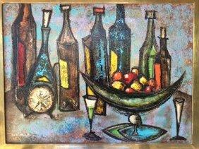 Leonardo Nierman, Still Life With Bottles And Clock,