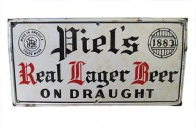 Porcelain Piel's Draught Beer Advertising Sign