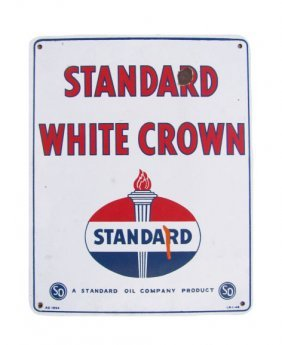 Standard White Crown Gasoline Advertising Sign