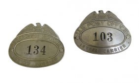 Two U.s. Post Office Hat Badges