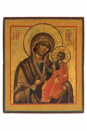 Icona Raffigurante La Vergine Di Iver, Russia, Xix