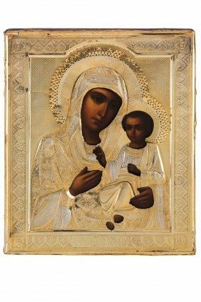 Icona Raffigurante La Vergine Di Iver Con Riza In