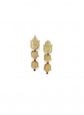 Orecchini Pendenti In Oro, Diamanti E Rubini, Tiffany &