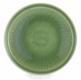 Piatto Concavo In Porcellana Celadon, Cina, Dinastia