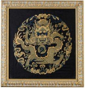 Tessuto Ricamato A Forma Di Medaglione Con Drago, Cina,