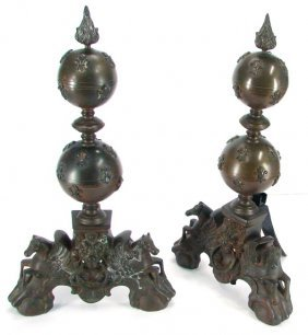 Decorative Arts: Baroque Style Bronze Andirons (two
