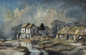Rowland Hilder OBE PRI (1905-1993) Oak Farm, East