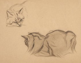 Oger (ferdinand, 1872-1929) - Two Studies Of A Cat