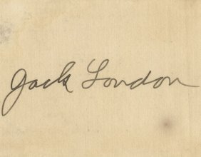 London, Jack - Signature Of Jack London In Ink On Cream