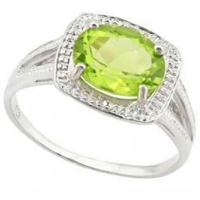 1.87 Ct Peridot & Genuine Diamond Platinum Plated .925