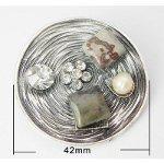 Arts & Crafts Style Rhinestone Gemstone Bead Brooch Pen
