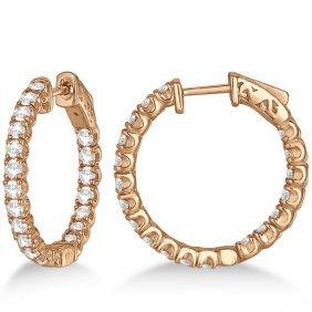 Medium Round Diamond Hoop Earrings 14k Rose Gold (2.00c