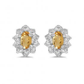 10k White Gold 0.4 Ctw Citrine/diamond Earrings