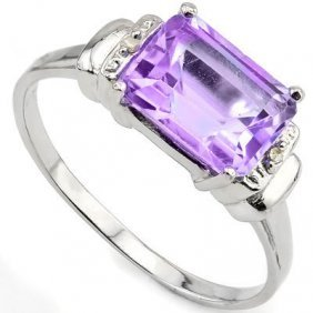2.26 Ctw Amethyst & Genuine Diamond Platinum Plated .92