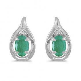 14k White Gold .90 Ctw Emerald/diamond Earrings
