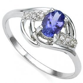 0.46 Ct Genuine Tanzanite & Genuine Diamond Platinum Pl