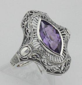 Art Deco Style Genuine Amethyst Filigree Ring - Sterlin