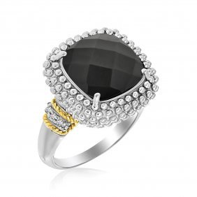 18k Yellow Gold & Sterling Silver Black Onyx And Diamon