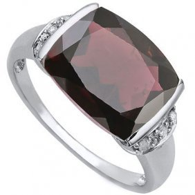 5.56 Ct Garnet & Genuine Diamond .925 Sterling Silver W