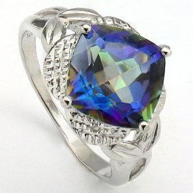 4.02 Ct Blue Mystic Gemstone & Genuine Diamond Platinum