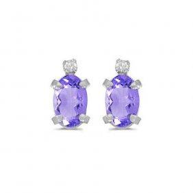 14k White Gold .82 Ctw Tanzanite/diamond Earring