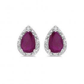 14k White Gold 1.40 Ctw Ruby/diamond Earrings