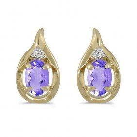 14k Yellow Gold .82 Ctw Tanzanite/diamond Earrings