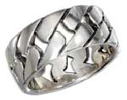 Sterling Silver 10mm Open Basket Weave Band Ring