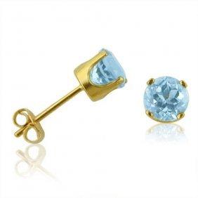 14k Yellow Gold .60 Ctw Blue Topaz Stud Earrings