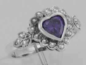 Victorian Style Heart Shaped Amethyst Colored Cz Ring -