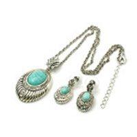 Turquoise Gemstone Silver Tone Rhinestone Necklace Earr