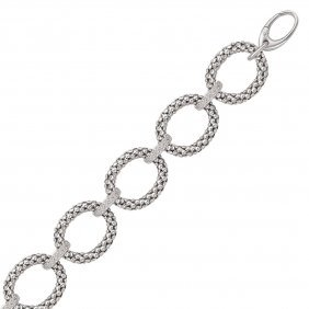 Sterling Silver Popcorn Ring Chain Bracelet With Diamon