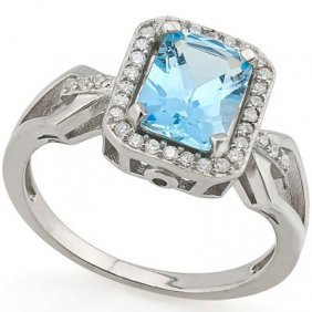 2.40 Ct Blue Topaz & 1pcs Genuine Diamond Platinum Plat
